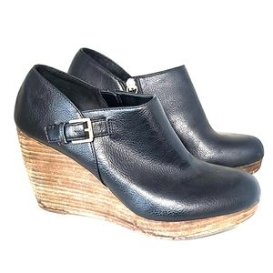 Dr. Scholls leather wedge booties with buckle